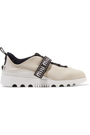 Miu Miu Logo-embroidered neoprene and rubber sneakers