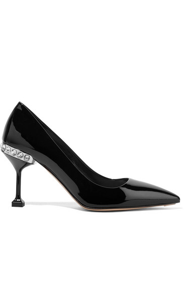 Miu Miu - Crystal-embellished Patent-leather Pumps - Black at NET-A-PORTER