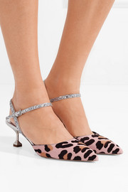 Miu Miu Leather-trimmed leopard-print calf hair pumps
