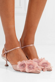Miu Miu Appliquéd satin pumps