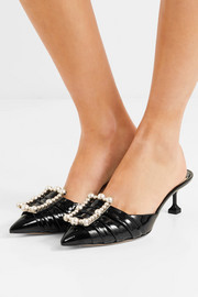 Faux pearl-embellished patent-leather mules