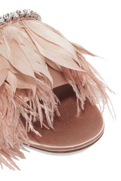 Miu Miu Mules From Satin With Feather