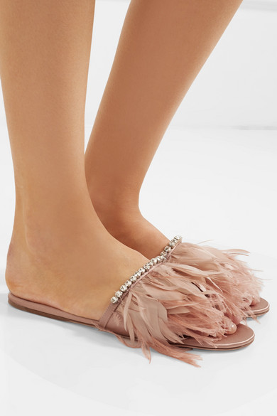 Feather Trimmed Satin Slides by Miu Miu