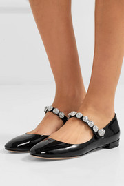 Crystal-embellished patent-leather ballet flats