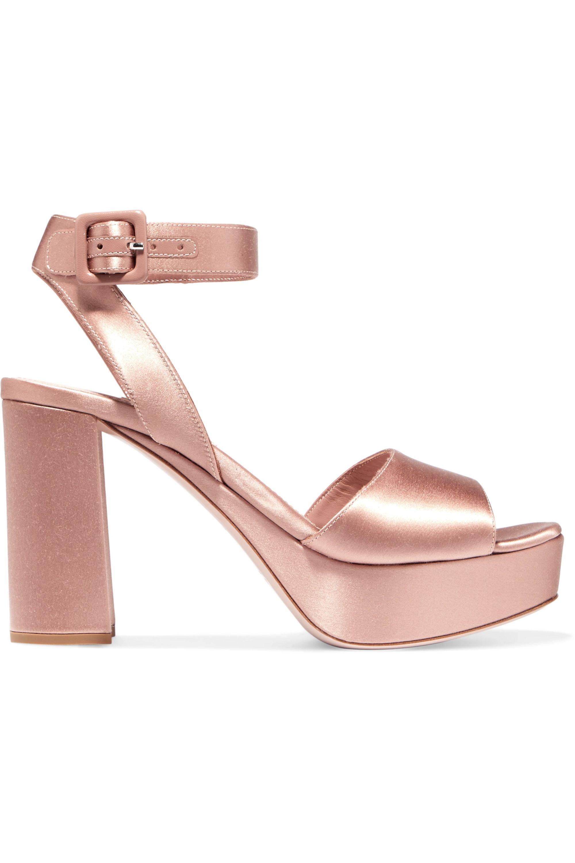 Blush Satin platform sandals | Miu Miu