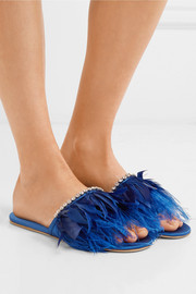 Miu Miu Feather-trimmed embellished satin slides
