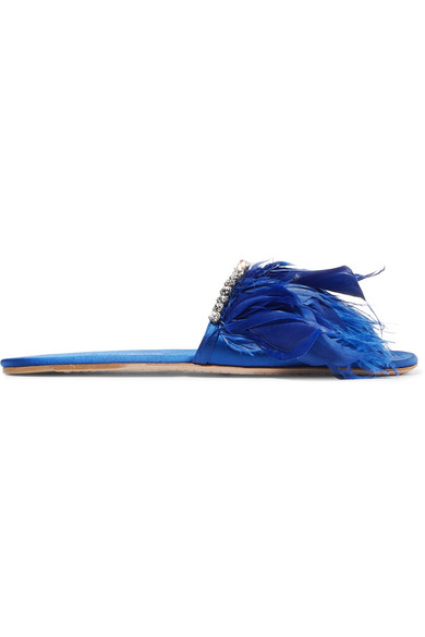 33295a51aedf Miu Miu. Feather-trimmed embellished satin slides
