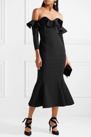 Oscar de la Renta Ruffled tulle and wool-blend midi dress