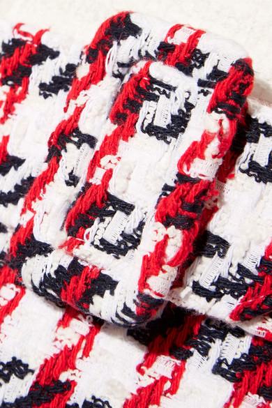 Oscar de la Renta Kleid aus Tweed aus einer Baumwollmischung mit Hahnentrittmuster und Fransen