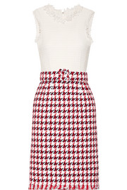 Fringed houndstooth cotton-blend tweed dress