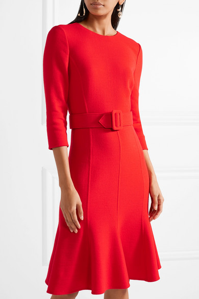 Oscar de la Renta Kleid aus einer Wollmischung mit Gürtel