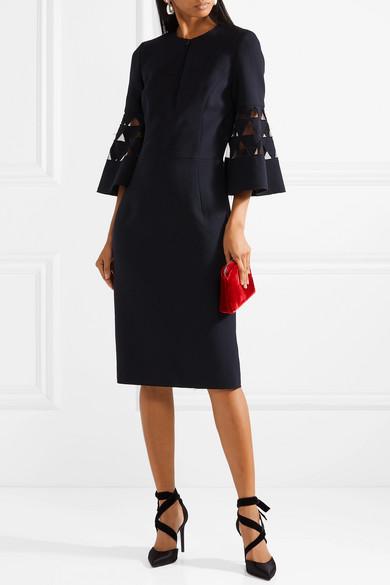 Oscar de la Renta Kleid aus einer Wollmischung mit Cut-outs und Tülleinsätzen