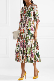 Pussy-bow printed stretch silk-blend midi dress