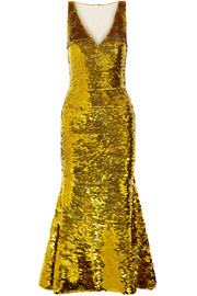Oscar de la Renta Sequined silk-blend gown