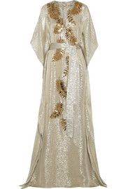 Embellished metallic silk-blend lamé gown