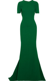 Open-back wool-blend crepe gown