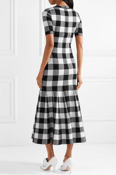 Oscar de la Renta Jacquard-Kleid aus einer Wollmischung mit Gingham-Karo