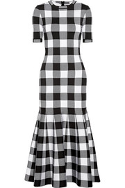 Oscar de la Renta Gingham wool-blend jacquard dress