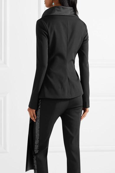 Oscar de la Renta Asymmetrische Jacke aus einer Wollmischung mit Satinbesatz und Drapierung