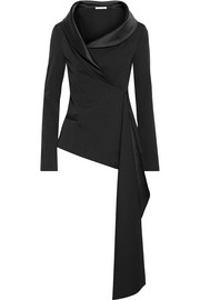 Oscar de la Renta Asymmetric satin-trimmed draped wool-blend jacket
