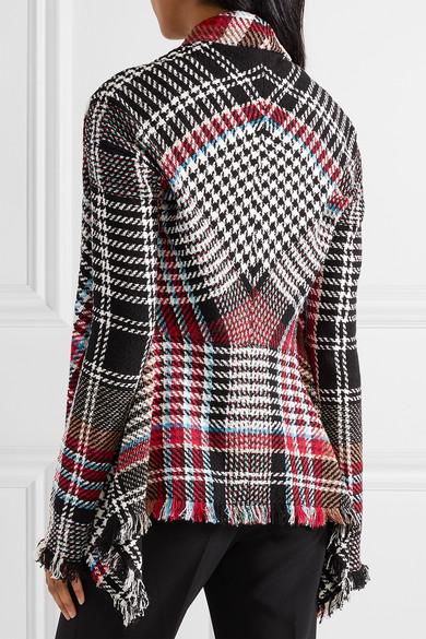Oscar de la Renta Karierte Tweed-Jacke aus einer Baumwollmischung mit Fransen