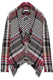 Fringed checked cotton-blend tweed jacket