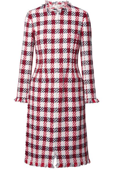 Oscar de la Renta Mantel aus Tweed aus einer Baumwollmischung mit Fransen