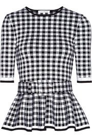 Oscar de la Renta Gingham wool-blend peplum top