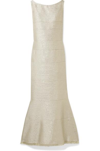 Oscar de la Renta Robe aus Lurex® mit Paillettenverzierung