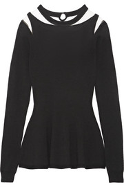 Oscar de la Renta Tulle-paneled cutout wool sweater
