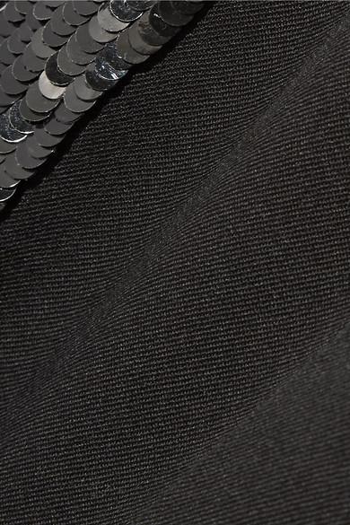 Oscar de la Renta Eng geschnittene Hose aus Gabardine aus einer Wollmischung mit Paillettenverzierung