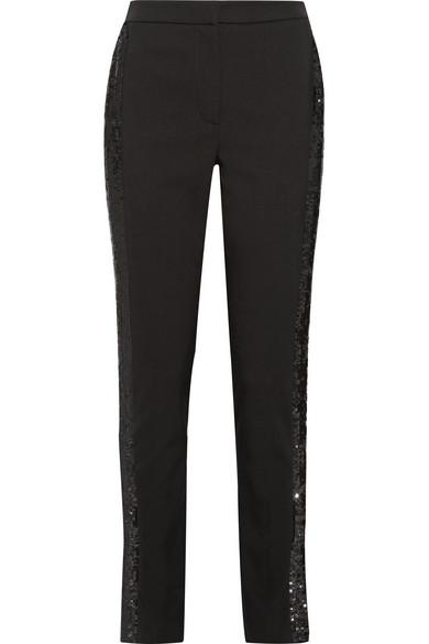 SEQUIN-TRIMMED WOOL-BLEND GABARDINE SKINNY PANTS