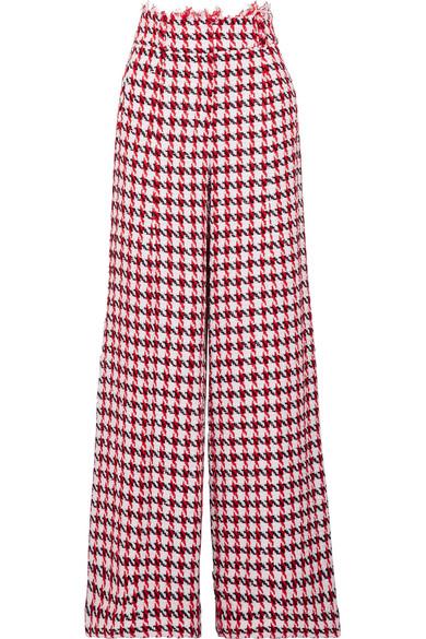 Oscar de la Renta Tweed-Hose mit weitem Bein aus einer Baumwollmischung mit Hahnentrittmuster