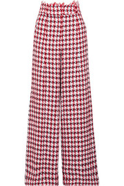 Houndstooth cotton-blend tweed wide-leg pants
