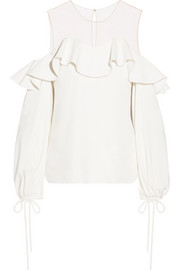 Oscar de la Renta Tulle-paneled stretch-silk top