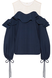 Oscar de la Renta Tulle-trimmed stretch-silk top
