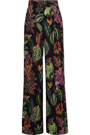 Printed silk-blend crepe de chine wide-leg pants