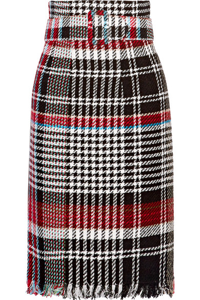 BELTED FRINGED CHECKED COTTON-BLEND TWEED SKIRT