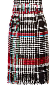 Oscar de la Renta Belted fringed checked cotton-blend tweed skirt