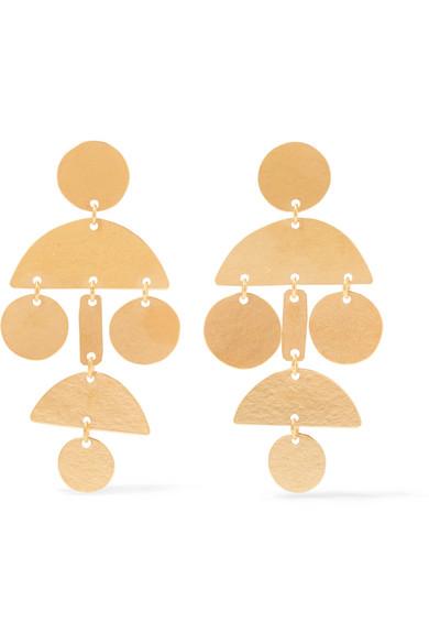 ANNIE COSTELLO BROWN Mini Pompom Gold-Tone Earrings