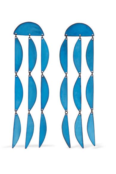ANNIE COSTELLO BROWN Rain Oxidized Earrings in Blue