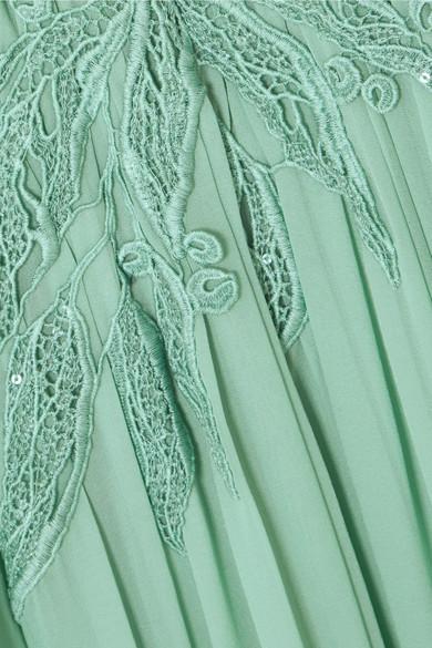 Elie Saab Verzierte Robe aus Tüll aus einer Seidenmischung mit Polka-Dots, Spitze und Chiffon