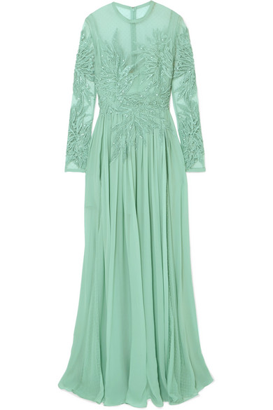 Embellished Silk-blend Swiss-dot Tulle, Lace And Chiffon Gown - Mint Elie Saab