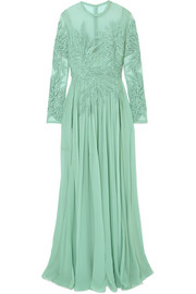 Elie Saab Embellished silk-blend Swiss-dot tulle, lace and chiffon gown