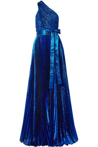 Elie Saab Robe aus plissiertem Lamé aus einer Seidenmischung mit asymmetrischer Schulterpartie