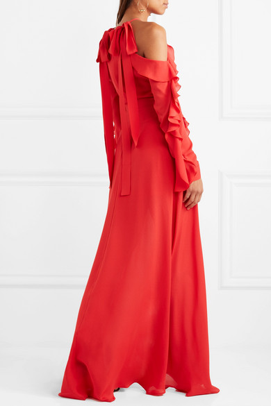 Elie Saab Strapless Robe Of Silk-georgette With Ruffles