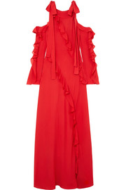 Elie Saab Cold-shoulder ruffled silk-georgette gown