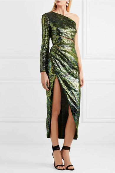 Elie Saab Kleid aus Seidentüll mit Pailletten und asymmetrischer Schulterpartie