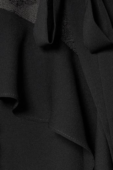 Elie Saab Bluse aus Crêpe aus einer Seidenmischung mit Spitze und Volants