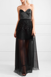 Sequined corded lace, Swiss-dot tulle and mesh maxi skirt